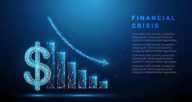 Abstract blauw dollarteken en dalende grafiek laag poly-stijlontwerp financiële crisisconcept