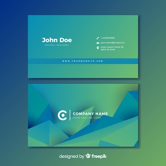 Abstract blauw en groen gradiëntvisitekaartje
