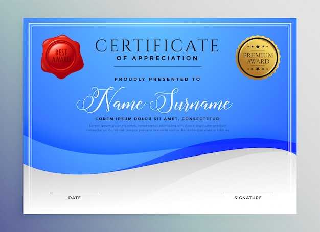 Abstract blauw golvend certificaatsjabloon