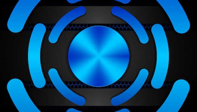 Abstract blauw licht op hexagon donkere achtergrond