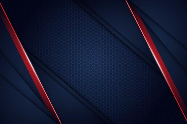 Abstract blauw navy rood licht overlappen met zeshoek mesh patroon achtergrond