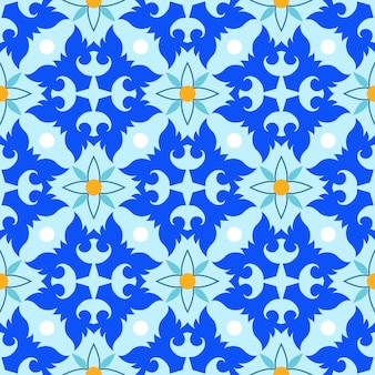Abstract blauw ontwerp naadloos patroon in thaise stijl.