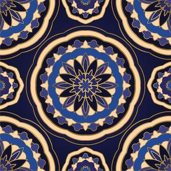 Abstract blauw patroon met mandala's.