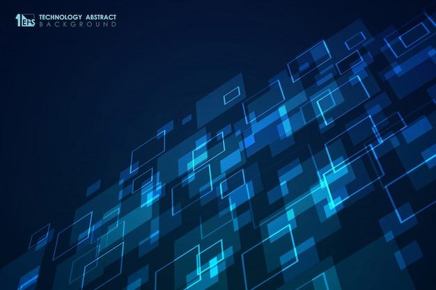 Abstract blauw vierkant patroon van moderne futuristische ontwerpachtergrond.