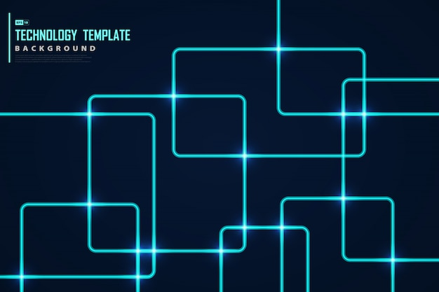 Abstract blauw vierkant tech vierkant ontwerp met licht schittert decoratie.