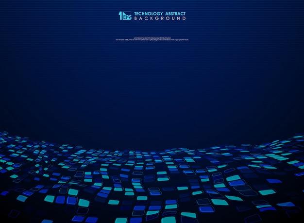 Abstract blauw vierkant vliegend ontwerp van technologieachtergrond.