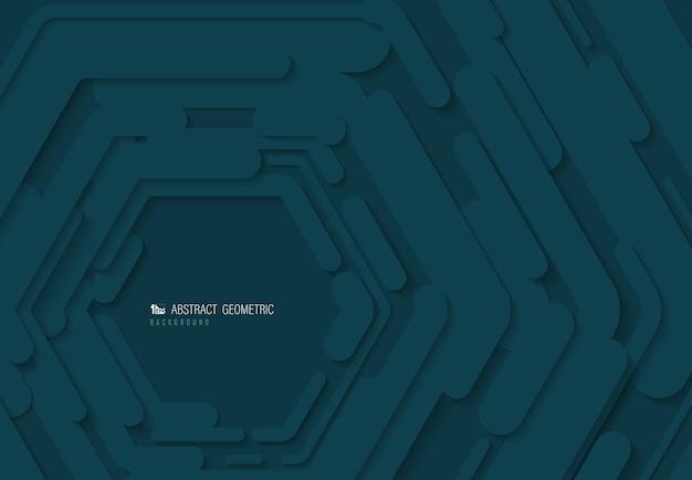 Abstract blauw zeshoekig patroonontwerp van technologiedocument gesneden patroonachtergrond Premium Vector