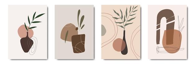 Abstract bloemen eigentijds halverwege de eeuw modern bladeren portretten boho poster sjablooncollectie