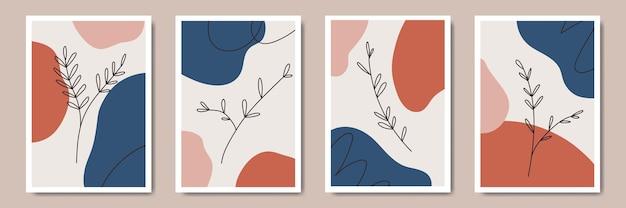 Abstract bloemen eigentijds modern bladeren lijntekeningen portretten boho poster sjabloon collectie