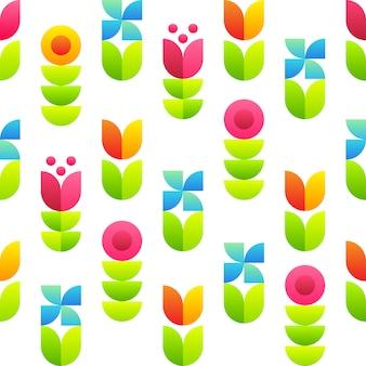 Abstract bloemen naadloos patroon - tulpen, bellflowers en bladeren