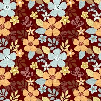 Abstract bloemenontwerp op donkere bruine kleurenachtergrond.