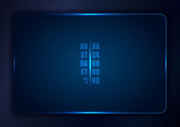 Abstract blue gradient sjabloon achtergrond met rechthoek afgerond frame en gloeilampen.