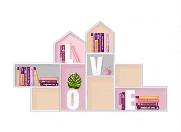 Abstract boekenplank decor