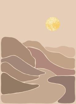Abstract boheems kunstlandschap in aardetinten boho-stijl mountain view sun moon hills