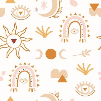 Abstract boho naadloos patroon met luna, regenboog.