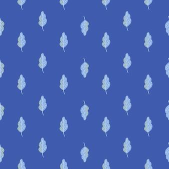 Abstract botanisch naadloos patroon met kleine lichtblauwe bladerenelementen. eikenblad