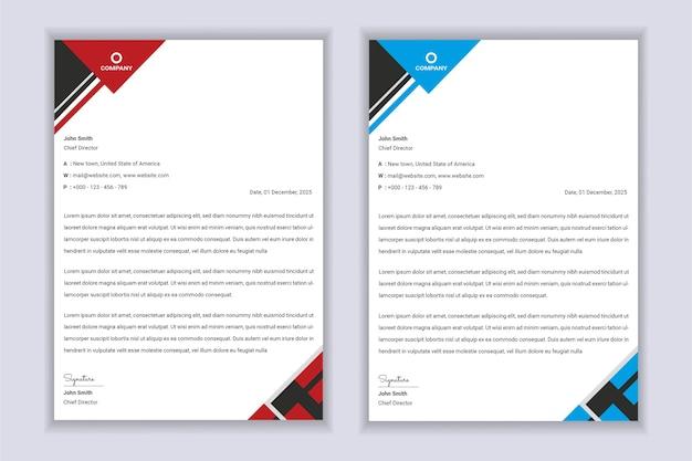 Abstract briefhoofdontwerp moderne zakelijke briefhoofd ontwerpsjabloon