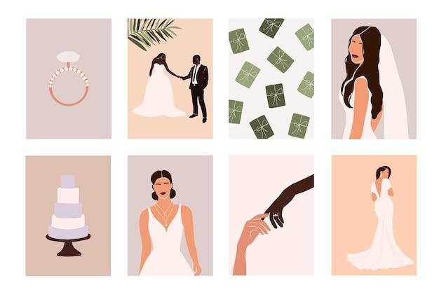 Abstract bruidspaar met huwelijkselementen Premium Vector