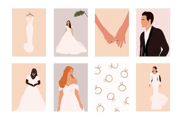 Abstract bruidspaar met huwelijkselementen