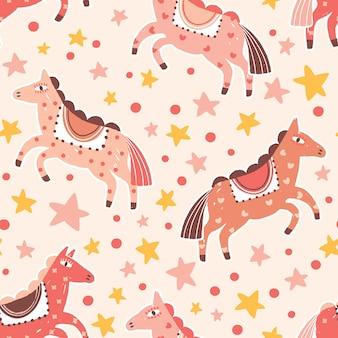Abstract carnaval paarden naadloos patroon