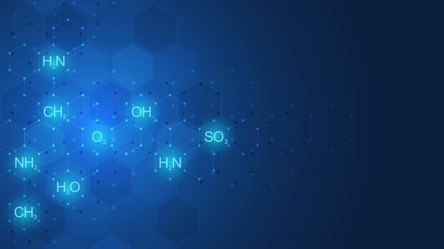 Abstract chemiepatroon op donkerblauwe achtergrond met chemische formules en moleculaire structuren. sjabloon met concept en idee voor wetenschap en innovatietechnologie.