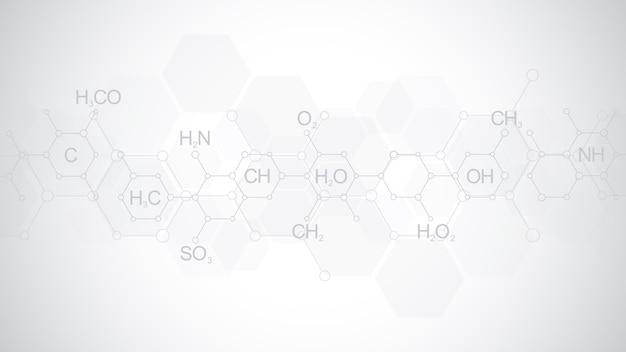 Abstract chemiepatroon op zachte grijze achtergrond met chemische formules en moleculaire structuren. sjabloonontwerp met concept en idee voor wetenschap en innovatietechnologie.