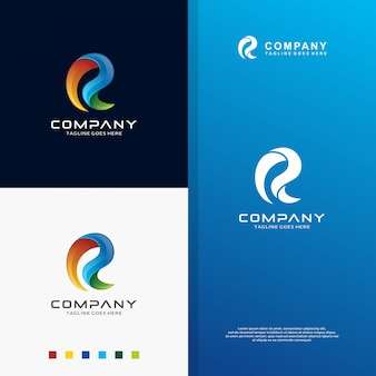 Abstract colorfull letter r-logo