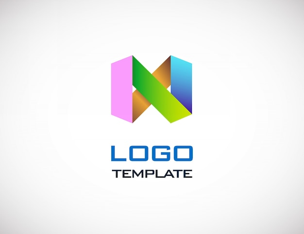 Abstract colorull origami logo sjabloon