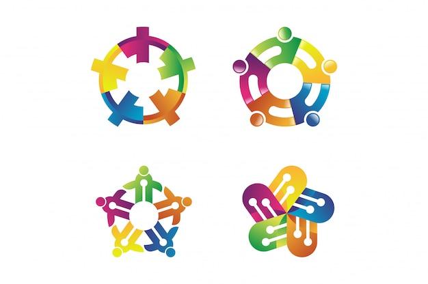 Abstract concept voor kleurrijk communautair mensenembleem. people community-symbool