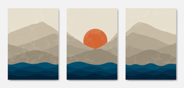 Abstract contemporary halverwege de eeuw modern landschap boho omslag frale.