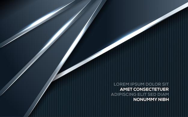 Abstract creatief trendy dynamisch modern ontwerp met donkerblauwe en zilveren achtergrond met de stijlconcept van de overlappingslaag
