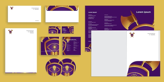 Abstract curly wave modern corporate business identity stationair ontwerp