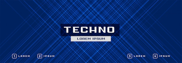 Abstract de bannerontwerp van technologie blauw gloeiend lijnen