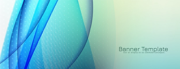 Abstract decoratief blauw de bannerontwerp van de golf
