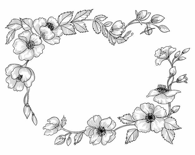 Abstract decoratief bloemenkader schetsontwerp