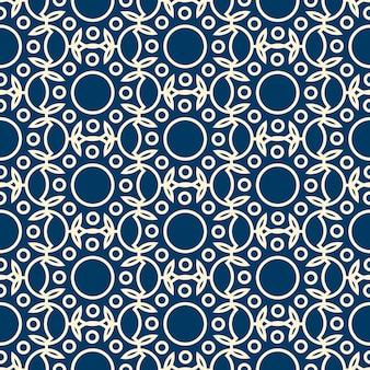 Abstract dichromatisch naadloos patroon met rondes en bladeren
