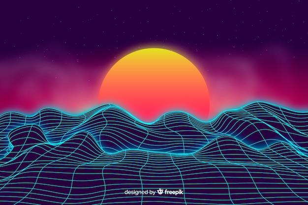 Abstract digitaal landschap met zonsondergangachtergrond