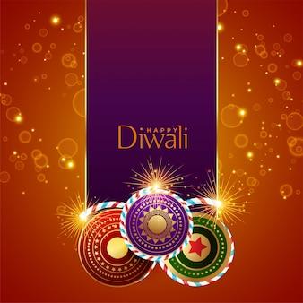 Abstract diwalifestival fonkelt achtergrond met crackers