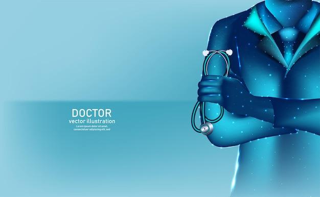 Abstract doctor draadframe digitaal en hologram
