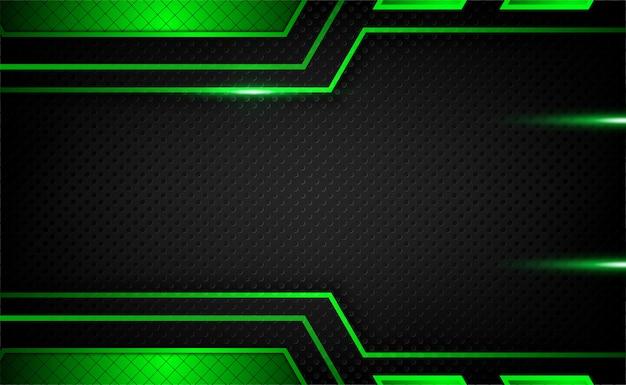 Abstract donker metallic groen zwart frame tech innovatie achtergrond met glitters en lichteffect