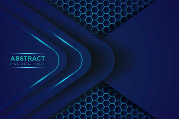 Abstract donkerblauw licht overlappen lagen met zeshoek mesh patroon moderne futuristische achtergrond