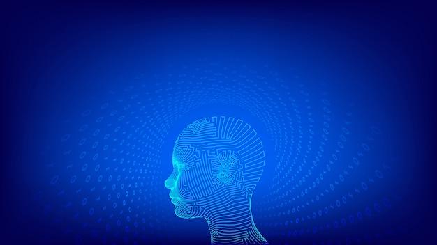 Abstract draadframe digitaal menselijk gezicht. aihuman hoofd in robot digitale computerinterpretatie.