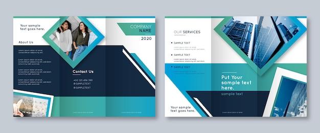 Abstract driebladig brochuremalplaatje met foto