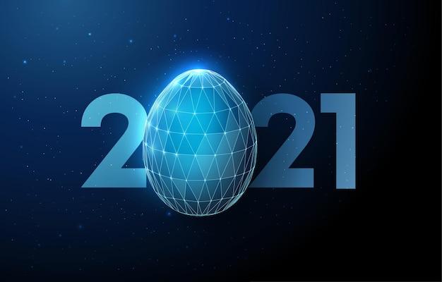 Abstract easter egg met aantal nieuwjaar. laag poly-stijl