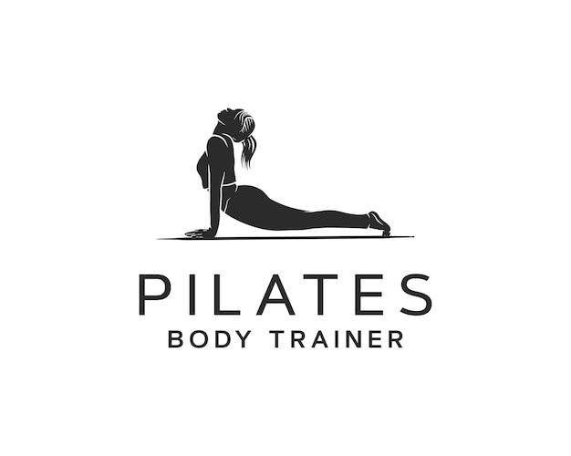 Abstract een meisje op een mat die pilates pose logo-ontwerp doet
