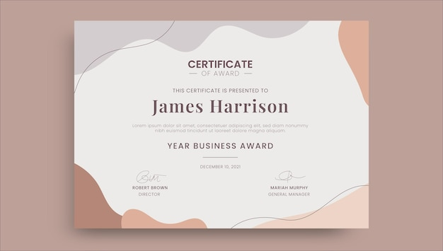 Abstract eenvoudig award zakelijk certificaat