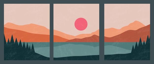 Abstract eigentijds landschap posters wand decor