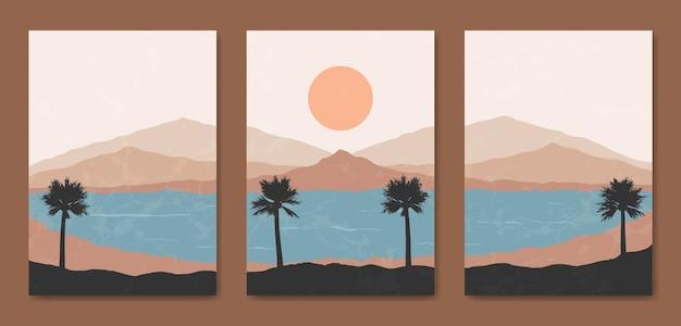 Abstract eigentijds midden van de eeuw modern landschap boho poster sjabloon.