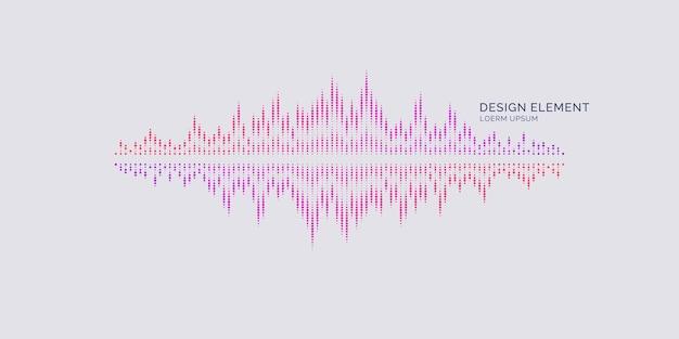 Abstract element met dynamische deeltjes. vectorillustratie in platte minimalistische stijl
