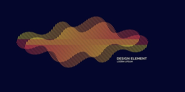 Abstract element met dynamische lineaire golven. vectorillustratie in platte minimalistische stijl